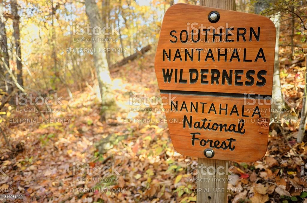 Southern Nantahala Wilderness National Forest Sign stock photo