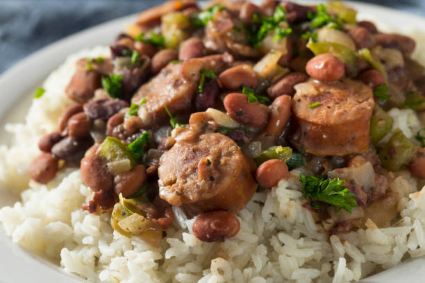 Southern Red Beans and Rice stock photo