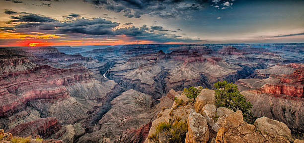 Southern Rim of the grand canyon at sunset stock photo