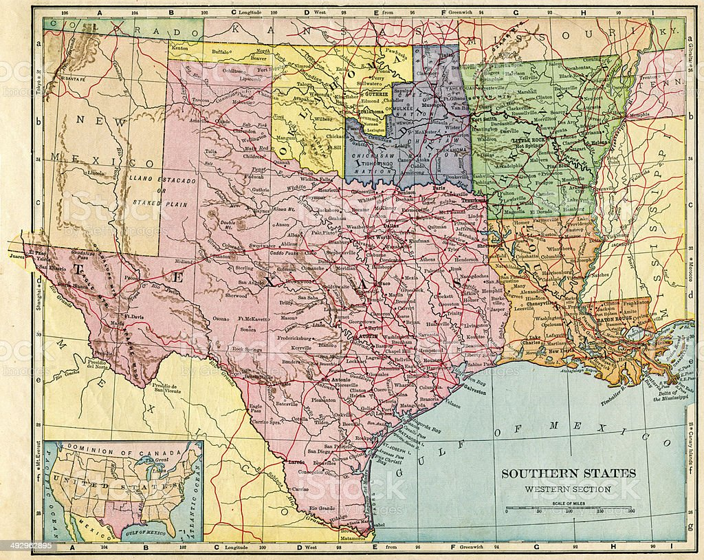 Southern States Map 1896 Stock Photo More Pictures of 19th Century