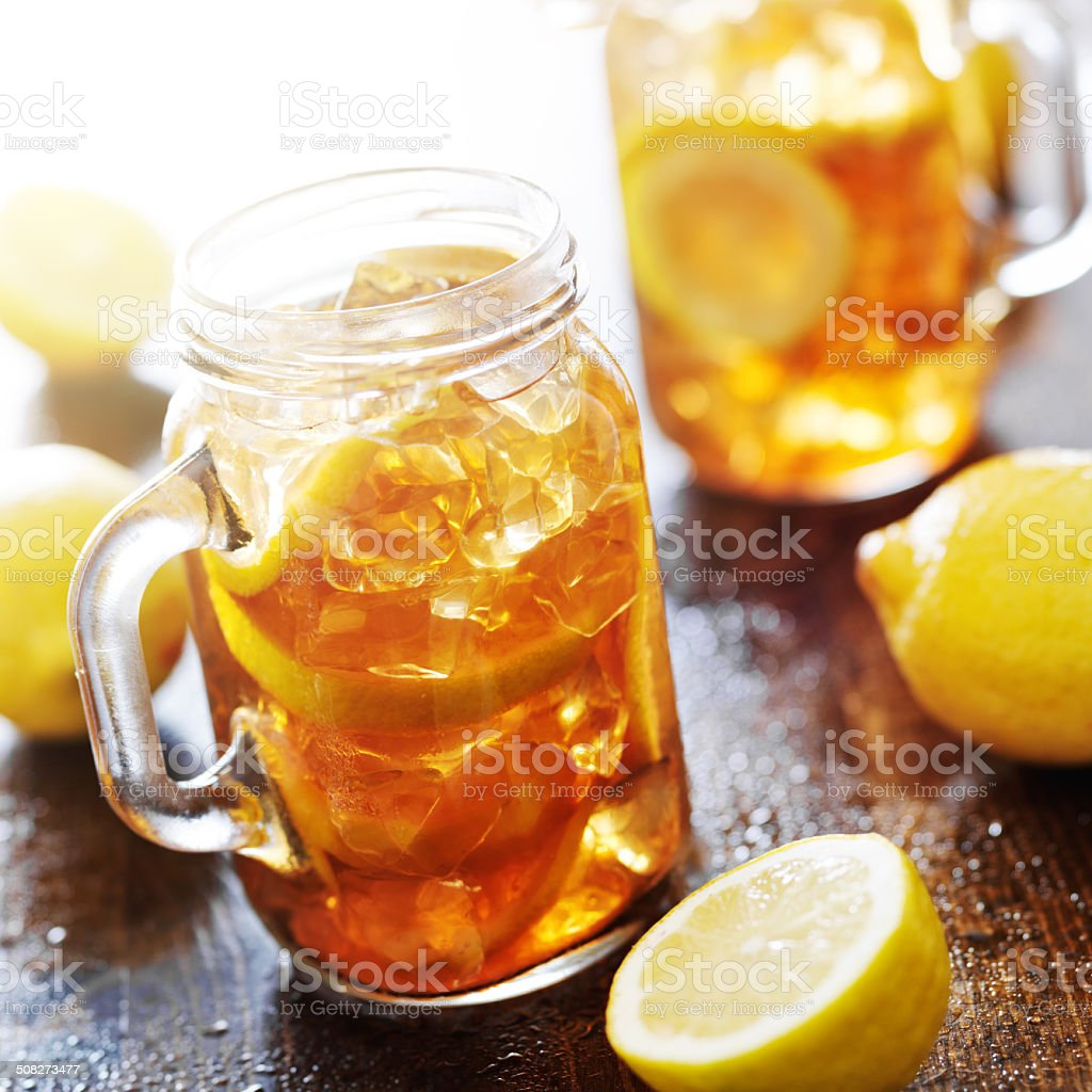 southern sweet iced tea in a rustic jar stock photo
