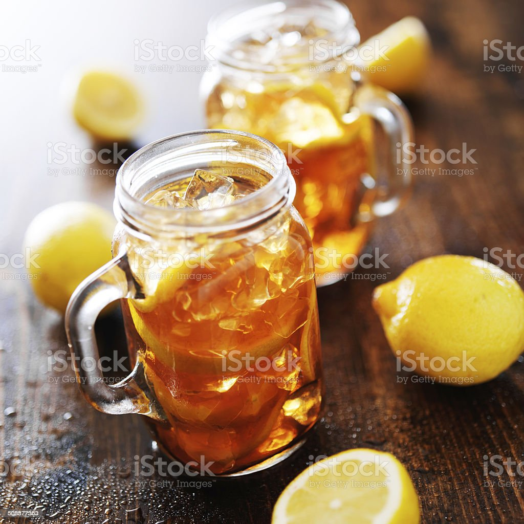southern sweet tea in a rustic jars stock photo