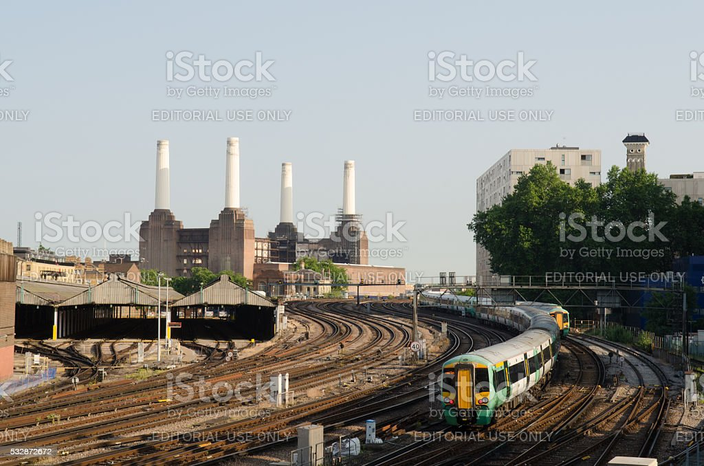 Southern Train approaching London Victoria Station. stock photo