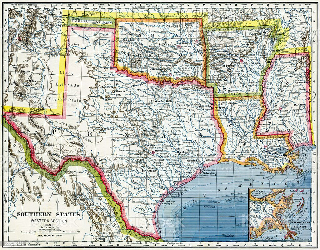 Southern Usa Map Stock Photo IStock - Map of southern texas