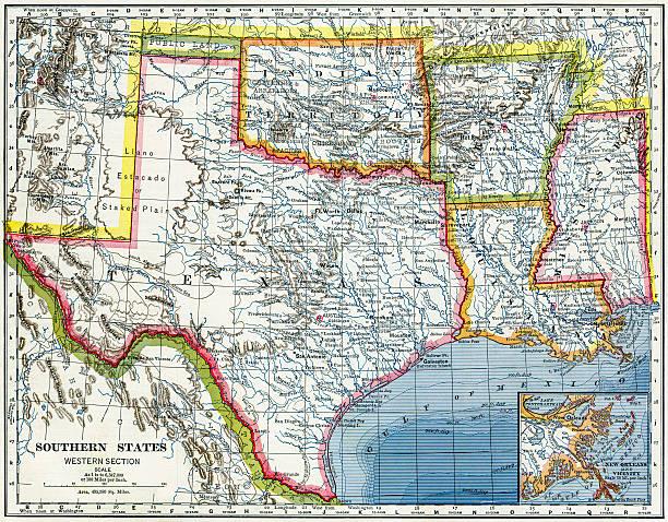 southern usa karte 1883 - revierverhalten stock-fotos und bilder