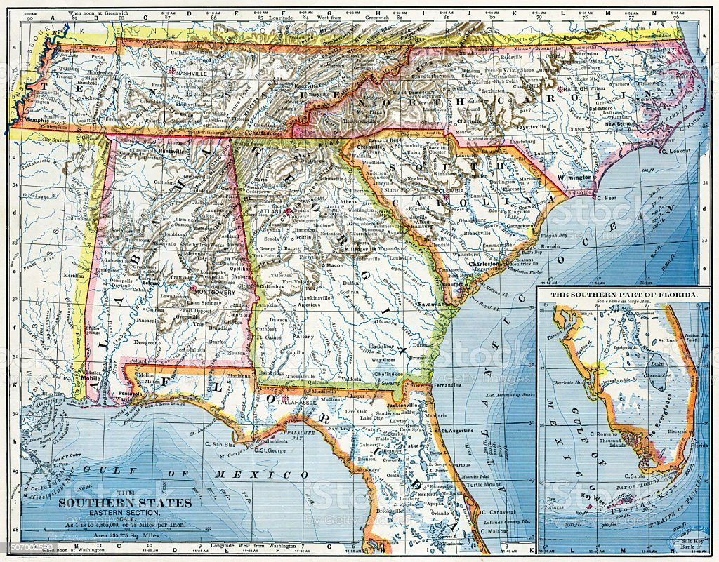 Southern USA Map 1883 stock photo