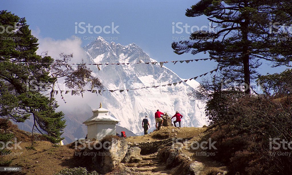 Southern wall of Lhotse stock photo
