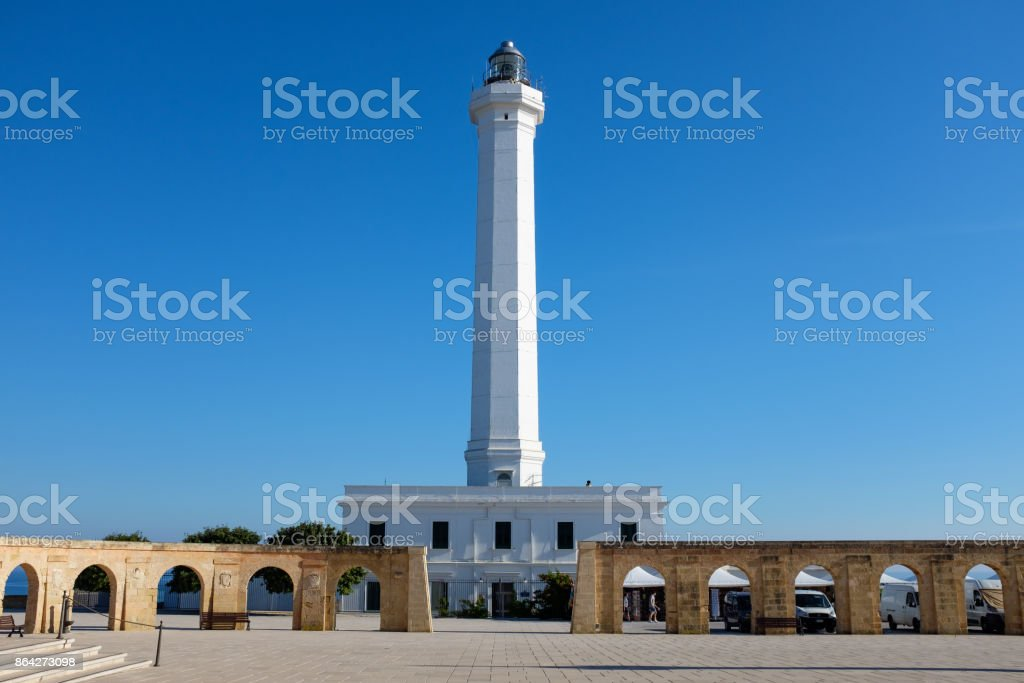 Southernmost Apulian lighthouse in a summer day. Italy royalty-free stock photo
