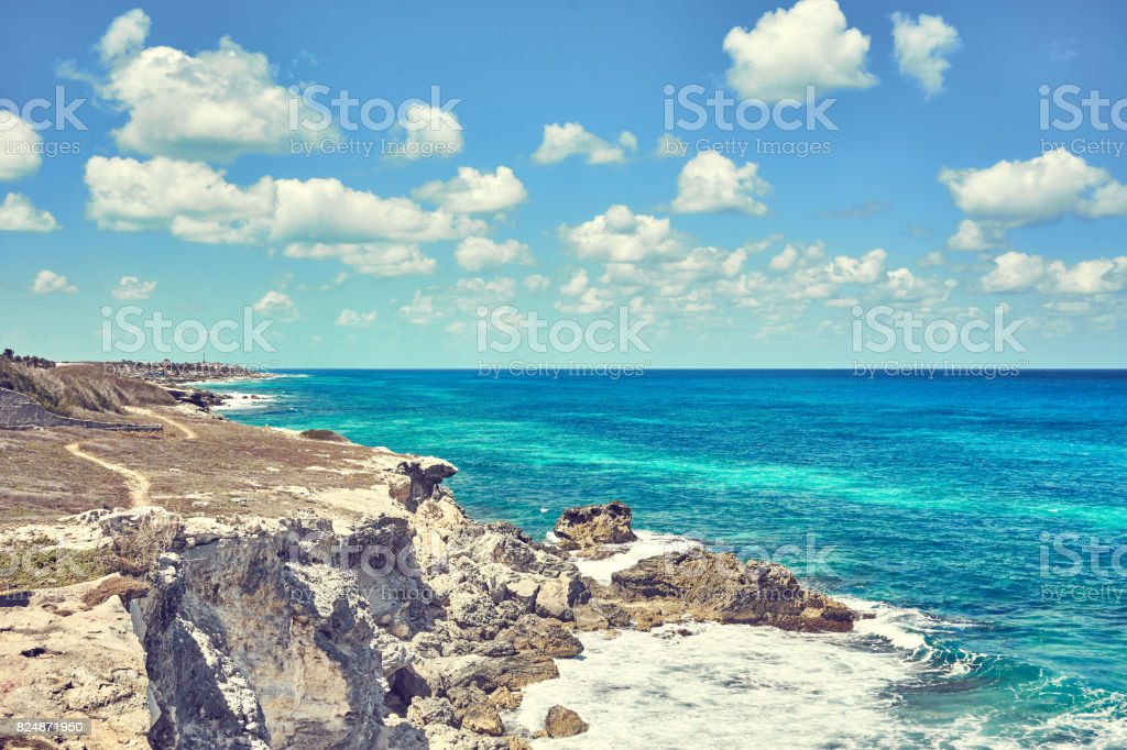 Southernmost point of the Island 'Isla Mujeres' in Mexico stock photo