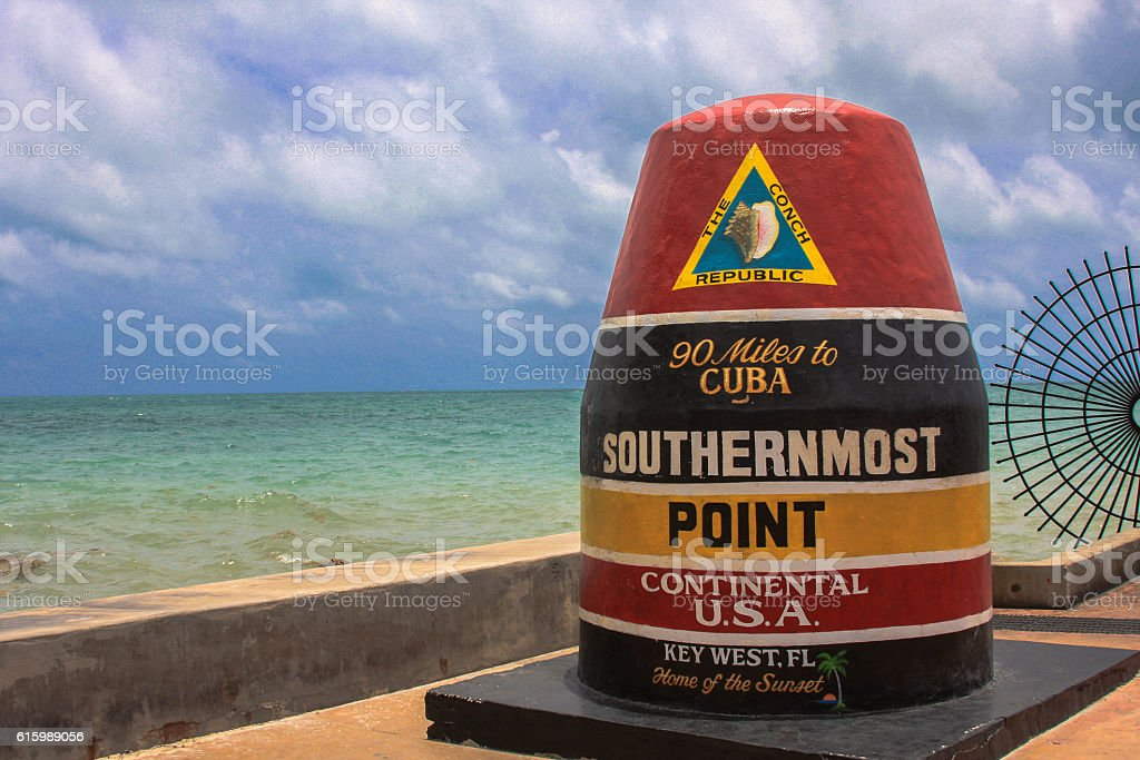 Southernmost USA south point to Cuba key west stock photo