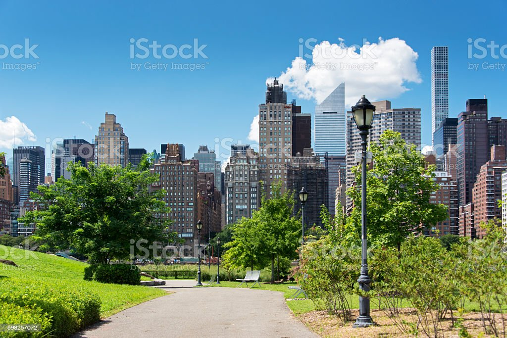 Southpoint Park with Midtown Manhattan stock photo