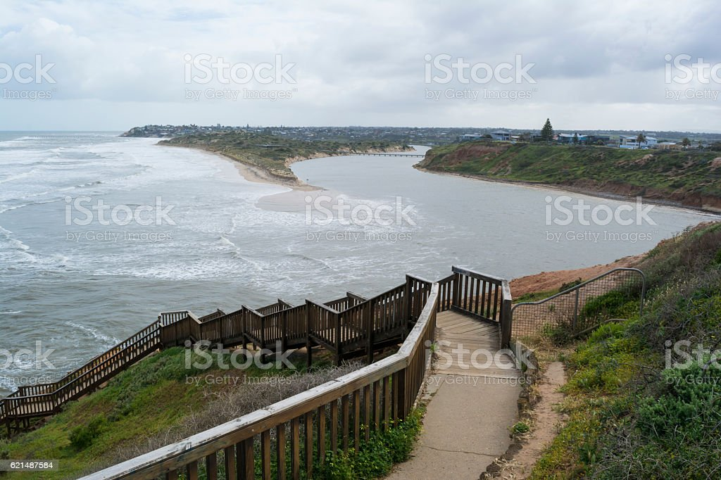 Southport Beach After the Storms and Floods, Fleurieu Peninsula, foto stock royalty-free