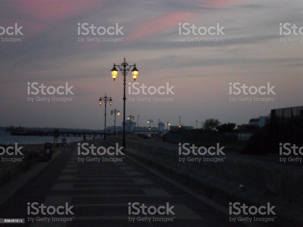 Southsea Pier at dusk stock photo
