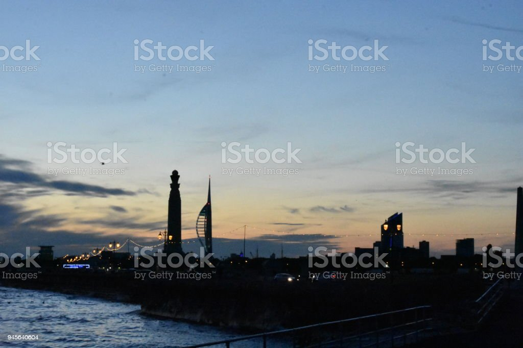 Southsea skyline at dusk stock photo