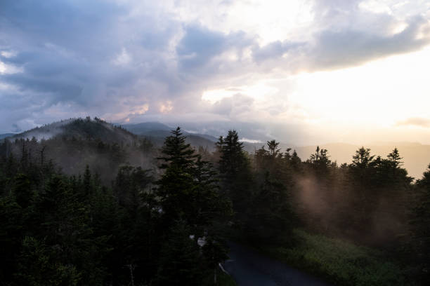Southward View from Clingman's Dome at Sunset stock photo
