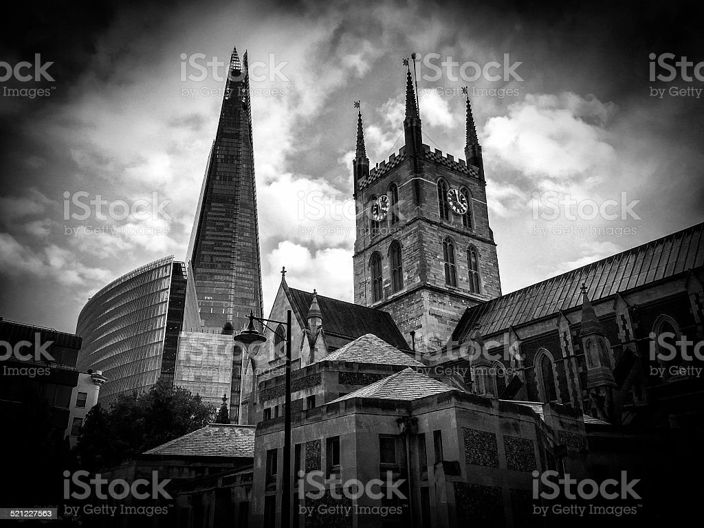 Southwark Cathedral and the Shard, black and white, London, England stock photo