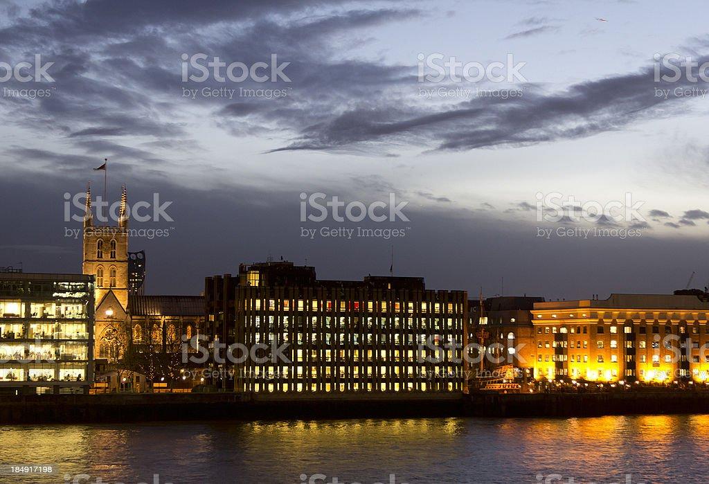 Southwark Cathedral at nightfall stock photo