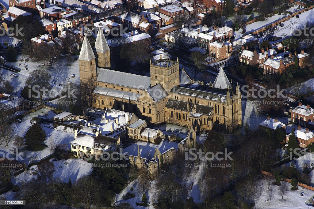 Southwell Minster in Snow stock photo