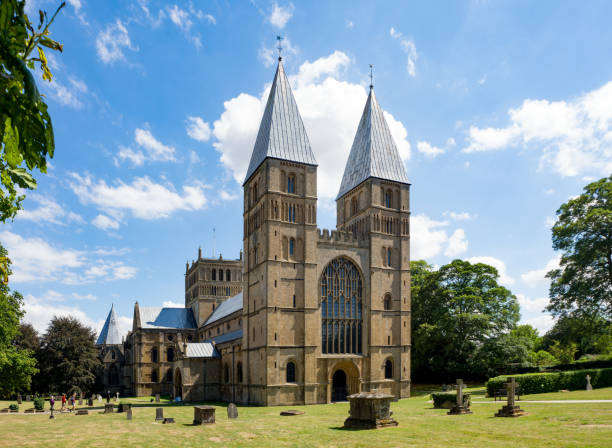 Southwell Mister and Romanesque Cathedral stock photo