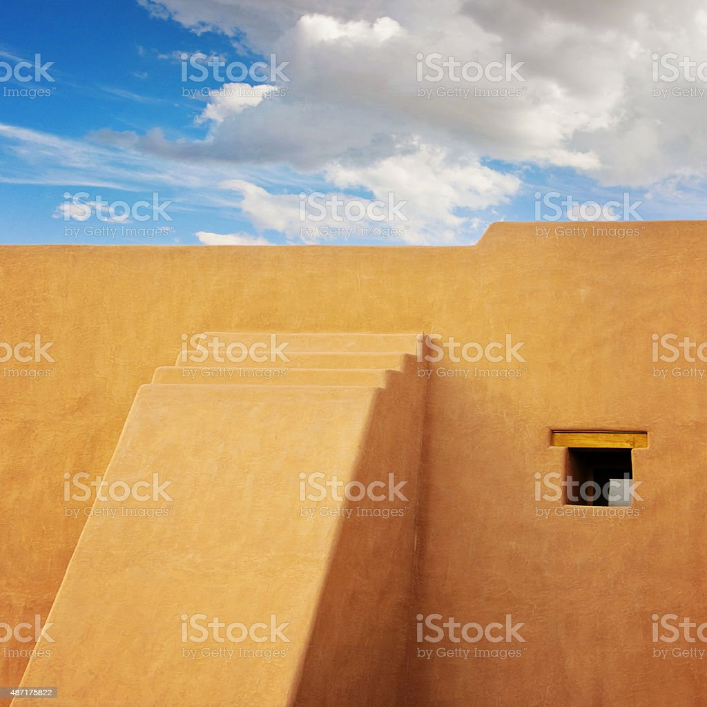 Southwest Adobe Building, Santa Fe, New Mexico stock photo