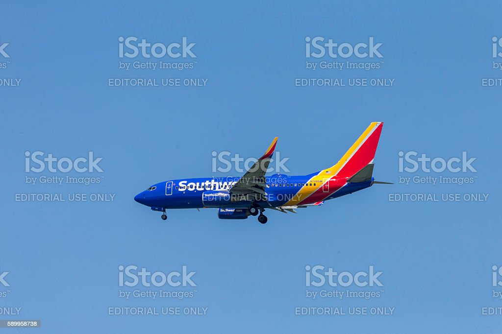Southwest Airline Airplane Landing to San Francisco Airport stock photo