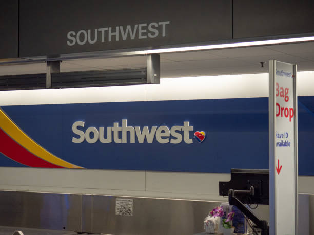 Southwest Airlines baggage check kiosk at San Francisco International Airport stock photo