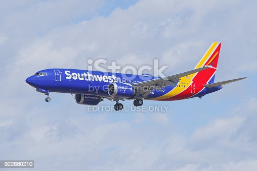 Southwest Boeing 737 MAX 8 shown moments before landing at the Los Angeles International airport.