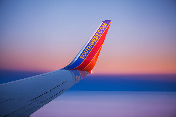 Southwest Airlines Boeing 737 Winglet against Sunset Sky stock photo