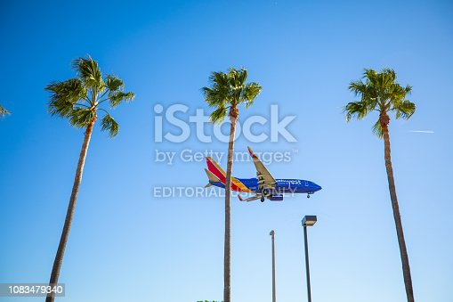 Los Angeles, United States - October 20th, 2018: Southwest Airlines landing at LAX (Tom Bradley International Airport) in Los Angeles at mid day. Seen from below.
