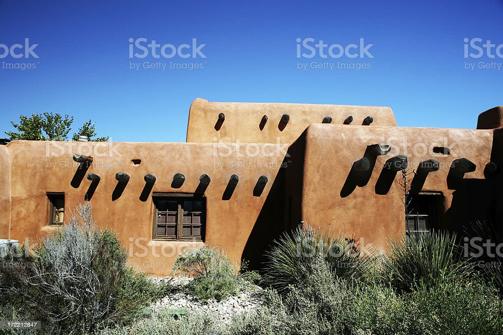 Southwest architecture of a clay hut on a sunny day stock photo