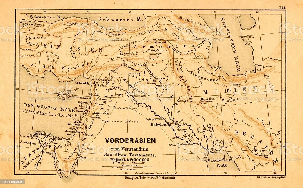Southwest Asia Map In A German Bible From 1895 Stock Photo ...