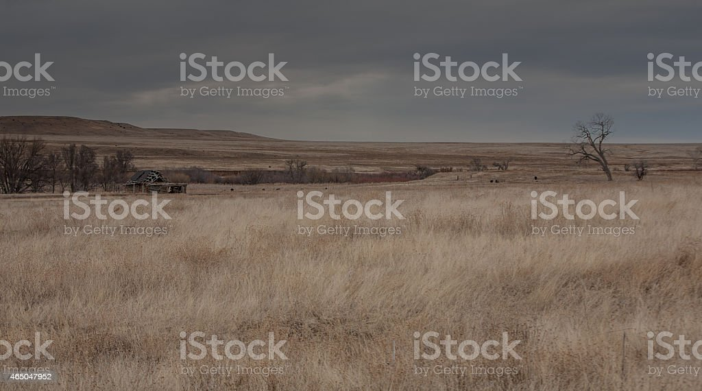 Southwest edge of the Great Plains in winter stock photo