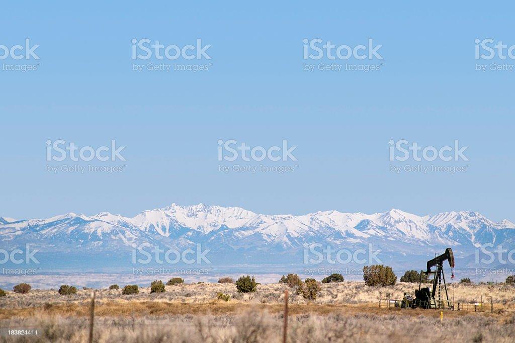 southwest landscape mountain oil rig royalty-free stock photo