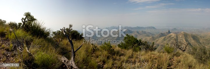 Panoramic view from the southwest rim of the Chisos Mountains at Big Bend National Park in Texas.