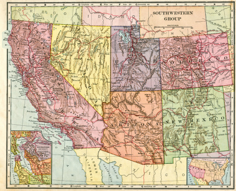 Map of the Southwest United States from 1896.