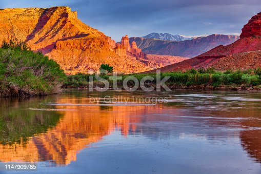 Fisher Towers rock spire feature seen from the Colorado River Southwest Utah