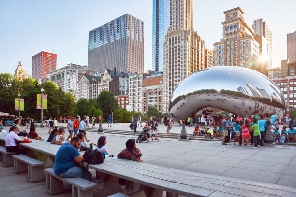 A South-West view of AT&T Plaza and the Cloud Gate Sculpture in Chicago, Illinois stock photo