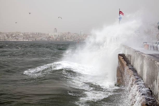 southwest wind storm in the Bosphorus ,Istanbul,Turkey stock photo