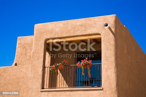 New home construction in southern Arizona (AZ) near Tucson, southwestern Arizona. Adobe residential architecture new house construction, new unsold homes. Copy space.