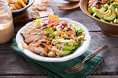Bowl of Southwestern Chicken Chopped Salad with Homemade Spicy Ranch Dressing