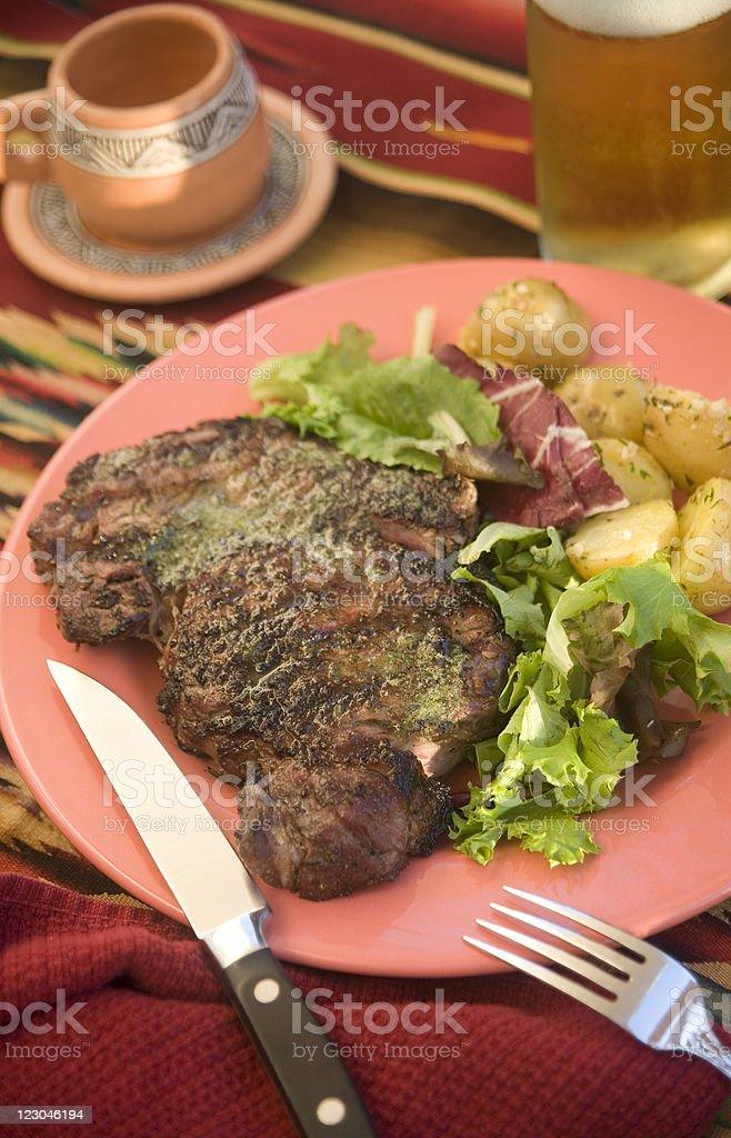 Southwestern Grilled Rib Eye Steak royalty-free stock photo