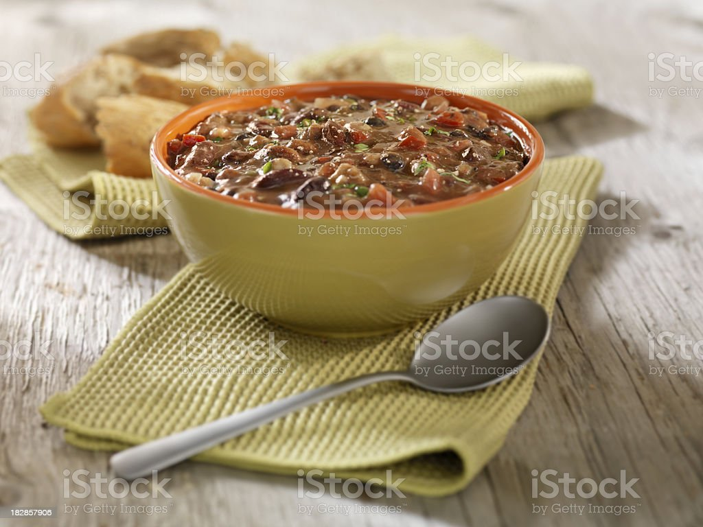 Southwestern Three Bean Soup with Crusty Bread stock photo
