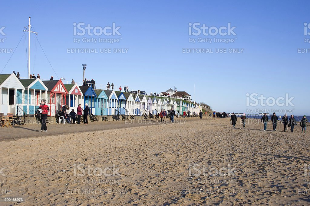 Southwold beach on Christmas Day stock photo