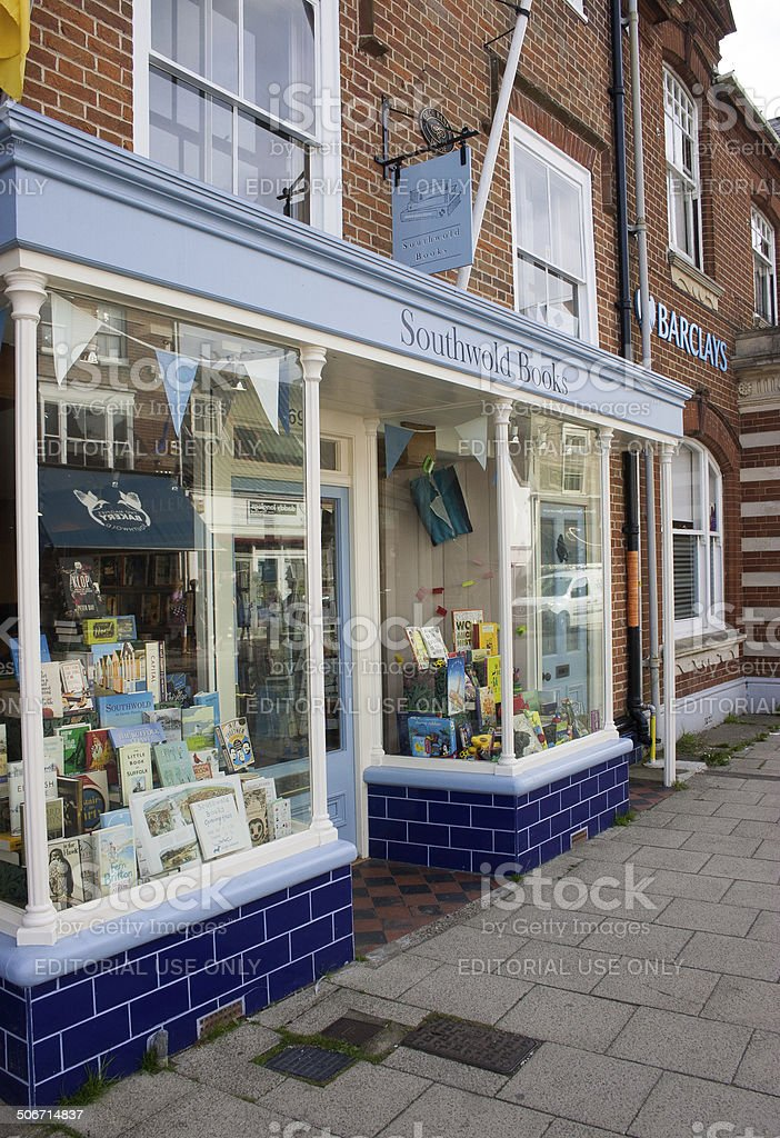 Southwold Books shop front, Suffolk, England stock photo