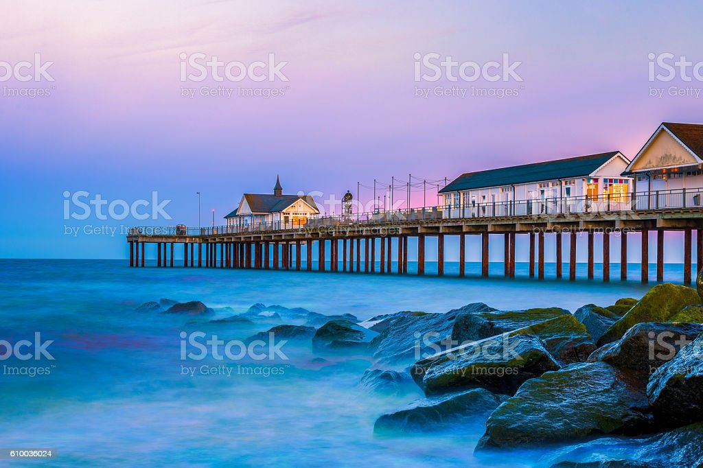 Southwold Pier in Suffolk, UK at Sunset stock photo