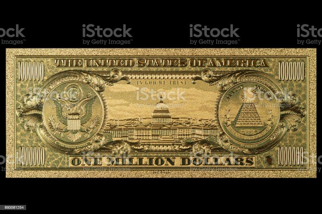 Souvenir American Gold Banknote $ 1 Million Dollars stock photo