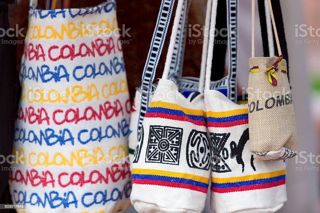 Souvenir bags for sale in tourist market, Bogota - Colombia stock photo