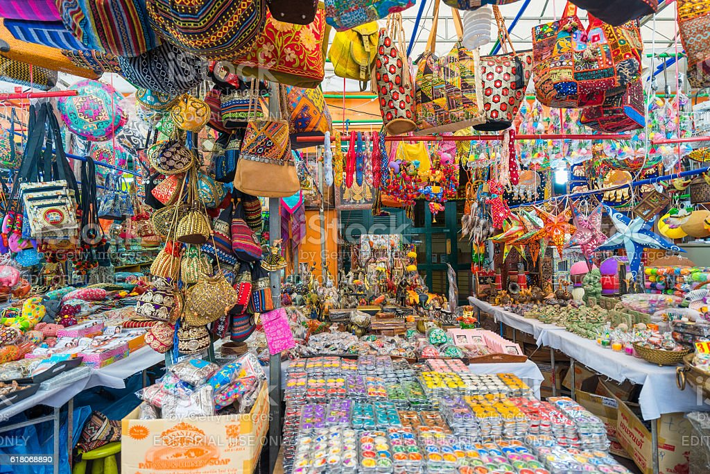 Souvenir in gift shops at Little India, Singapore stock photo