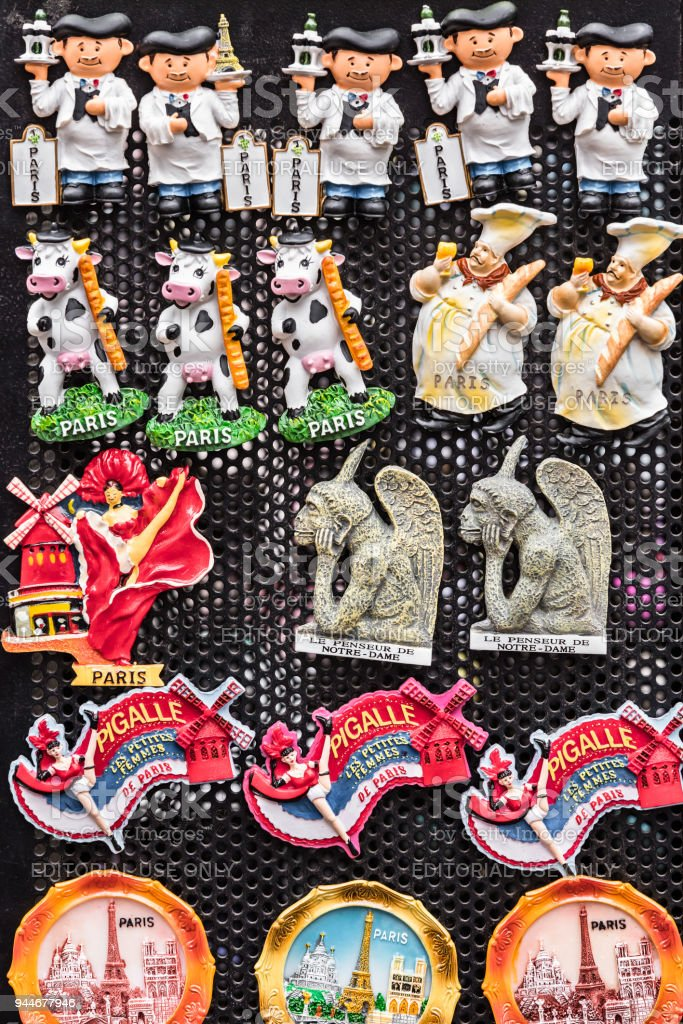 Souvenir Magnets With The Symbols Of Paris And France In The Gift