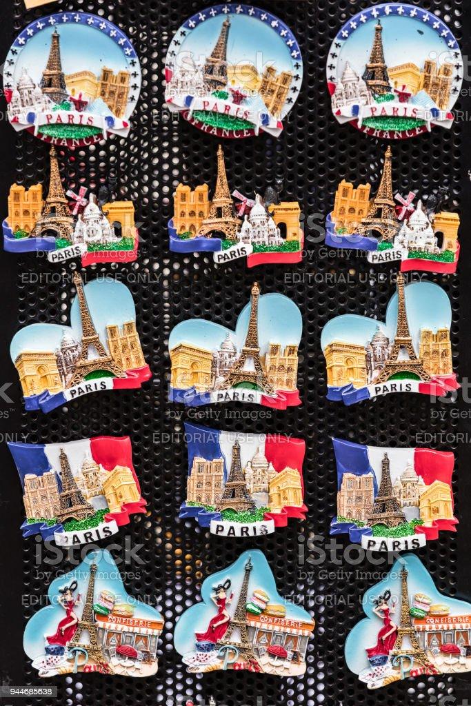 Souvenir Magnets With The Symbols Of Paris In The Gift Shop Paris